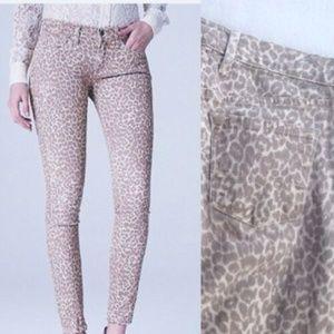 LUCKY BRAND Charlie Leopard Mid Rise Capri Skinny